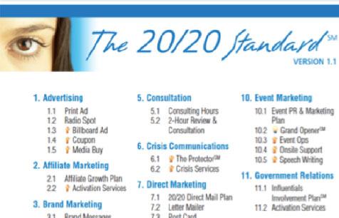 PR 20/20 standard services