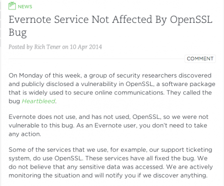 Evernote Heartbleed Blog Post