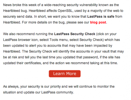 LastPass Heartbleed Crisis Communication Email