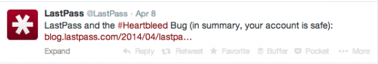 LastPass Heartbleed Crisis Communication Tweet