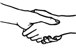 handshake depicting a formal introduction for an informative interview