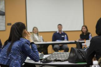 students listen in for job search advice