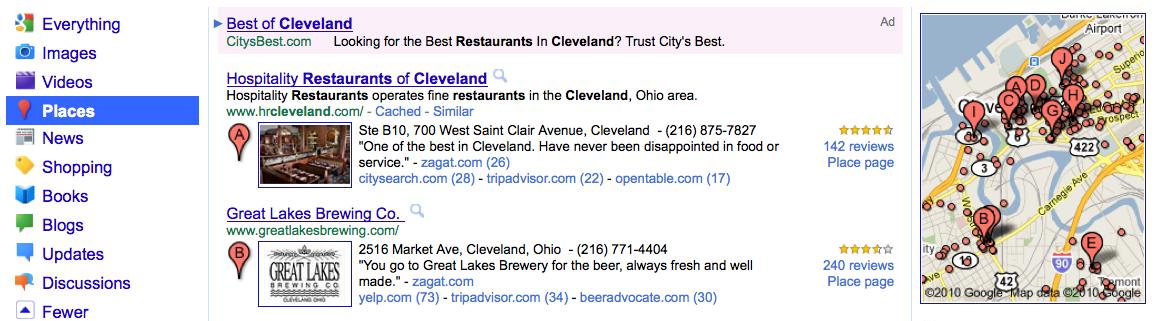 Google Places Screenshot