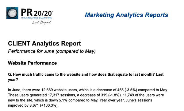Monthly Marketing Analytics Report