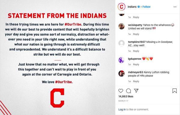 Cleveland Indians Instagram Post